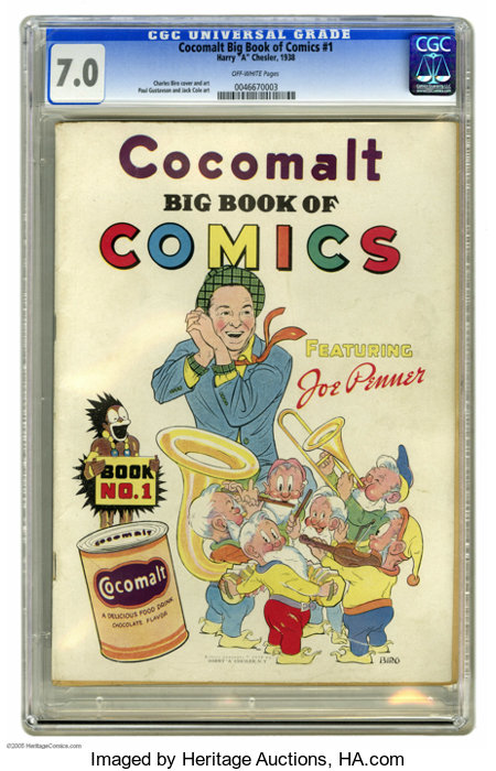 Cocomalt Big Book of Comics #1 (Chesler, 1938) CGC FN/VF 7.0 Off-white pages. This promotional comic received a scarcity rat...
