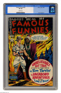 Golden Age (1938-1955):Adventure, Famous Funnies #202 (Eastern Color, 1952) CGC VF 8.0 Off-white pages. Includes a one-page ad with Frank Frazetta art. Overst...