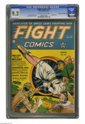 Golden Age (1938-1955):War, Fight Comics #27 Mile High pedigree (Fiction House, 1943) CGC NM- 9.2 Off-white to white pages. Artist Dan Zolnerowich came ...