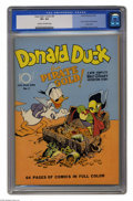 "Golden Age (1938-1955):Funny Animal, Four Color #9 Donald Duck Finds Pirate Gold (Dell, 1942) CGC VF+8.5 Cream to off-white pages. The word ""genius"" is bandied ..."