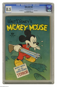 """Four Color #27 Mickey Mouse (Dell, 1943) CGC VF+ 8.5 Cream to off-white pages. """"Mickey Mouse and the Seven-Colored..."""