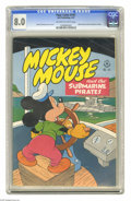 "Golden Age (1938-1955):Funny Animal, Four Color #141 Mickey Mouse (Dell, 1947) CGC VF 8.0 Off-white towhite pages. ""Mickey Mouse and the Submarine Pirates."" Har..."