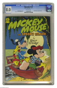 """Four Color #170 Mickey Mouse (Dell, 1947) CGC VF 8.0 Off-white pages. """"Mickey Mouse on Spook's Island."""" Harvey..."""