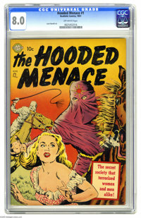 Hooded Menace #1 (Realistic Comics, 1951) CGC VF 8.0 Off-white pages. This unusual one-shot might look like typical expl...