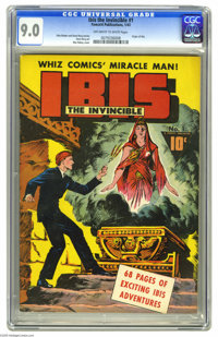 Ibis The Invincible #1 (Fawcett, 1943) CGC VF/NM 9.0 Off-white to white pages. Graceful figures and outstanding draftsma...