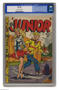 """Junior #12 (Fox Features Syndicate, 1948) CGC VF- 7.5 Cream to off-white pages. Here's another glorious 'headlight""""..."""