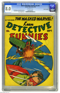Keen Detective Funnies V2#9 Cosmic Aeroplane pedigree (Centaur, 1939) CGC VF 8.0 Off-white pages. This issue is a Gerber...
