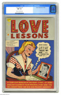 Golden Age (1938-1955):Romance, Love Lessons #1 (Harvey, 1949) CGC NM- 9.2 Cream to off-whitepages. This cover's unusual metallic silver cover has a story ...