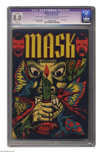 Mask Comics #1 (Rural Home, 1945) CGC Apparent VF 8.0 Slight (P) Off-white to white pages. This highly desirable book fe...