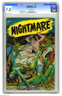 Nightmare #13 (St. John, 1954) CGC FN/VF 7.0 Off-white pages. Matt Baker cover. Dan Barry, Bob Powell, and George Tuska...