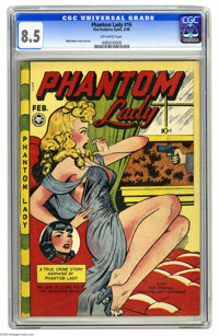 "Phantom Lady #16 (Fox Features Syndicate, 1948) CGC VF+ 8.5 Off-white pages. Matt Baker turned on the ""headlights&q..."