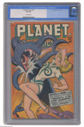 Golden Age (1938-1955):Science Fiction, Planet Comics #52 (Fiction House, 1948) CGC VF 8.0 Off-white pages.Here's another great Fiction House cover, with an attrac...