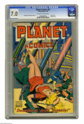 Golden Age (1938-1955):Science Fiction, Planet Comics #53 (Fiction House, 1948) CGC FN/VF 7.0 Off-white towhite pages. Covers with upside-down women were something...