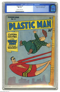 Plastic Man #4 Mile High pedigree (Quality, 1946) CGC NM 9.4 Off-white to white pages. When Plas sends the villainous Lo...