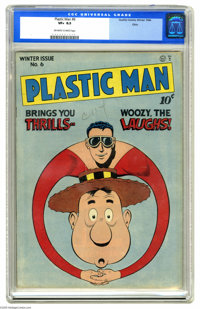 Plastic Man #6 Ohio pedigree (Quality, 1947) CGC VF+ 8.5 Off-white to white pages. This issue, everyone's favorite India...