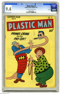 """Golden Age (1938-1955):Superhero, Plastic Man #8 Ohio pedigree (Quality, 1947) CGC NM 9.4 Off-white to white pages. The """"India Rubber Man"""" has a perp all tied..."""