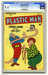 """Plastic Man #8 Ohio pedigree (Quality, 1947) CGC NM 9.4 Off-white to white pages. The """"India Rubber Man"""" has a..."""