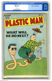 Plastic Man #9 Mile High pedigree (Quality, 1947) CGC NM+ 9.6 Off-white pages. Hot and cold running... Plas? This cover...