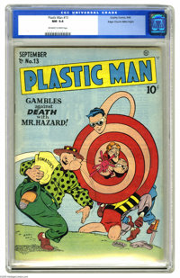 Plastic Man #13 Mile High pedigree (Quality, 1948) CGC NM 9.4 Off-white to white pages. Jack Cole's exaggerated style of...