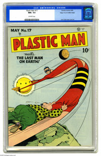 Plastic Man #17 Mile High pedigree (Quality, 1949) CGC NM+ 9.6 Off-white pages. When Plas stretches far above the Earth...