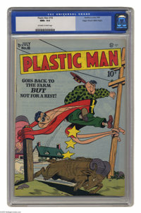 "Plastic Man #18 Mile High pedigree (Quality, 1949) CGC NM+ 9.6 Off-white to white pages. It's no ""stretch"" to..."