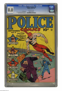 Police Comics #2 (Quality, 1941) CGC VF 8.0 Off-white pages. Here, as in issue #1, it's quite obvious that Firebrand was...