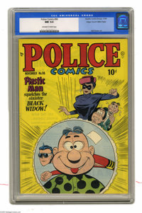 Police Comics #96 Mile High pedigree (Quality, 1949) CGC NM 9.4 Off-white to white pages. Plastic Man takes on the sinis...