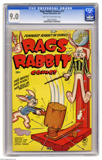 Rags Rabbit Comics #11 (Harvey, 1951) CGC VF/NM 9.0 Light tan to off-white pages. First issue of the title. From the Har...