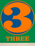 Fine Art - Work on Paper:Print, Robert Indiana (1928-2018). Three, 1968. Screenprint incolors on Schoellers Parole paper. 25-1/2 x 19-3/4 inches (64.8 ...