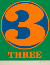 Robert Indiana (1928-2018) Three, 1968 Screenprint in colors on Schoellers Parole paper 25-1/2 x