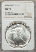 Modern Bullion Coins, 1986 $1 Silver Eagle MS70 NGC. NGC Census: (1787). PCGS Population: (142). MS70. Mintage 5,393,005. ...