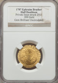 """""""1787"""" Ephraim Brasher Half Doubloon Gem Brilliant Uncirculated NGC. .999 fine gold. Private issue struck 2011..."""