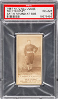 Baseball Cards:Singles (Pre-1930), 1887-90 N172 Old Judge Billy Sunday (#446-5 Pittsburgh) PSA EX-MT6. ...