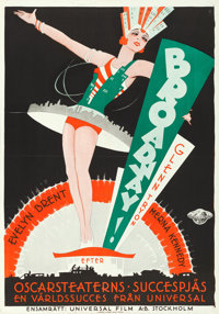 "Broadway (Universal, 1929). Swedish One Sheet (27.5"" X 39.5"")"