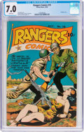 Golden Age (1938-1955):War, Rangers Comics #19 (Fiction House, 1944) CGC FN/VF 7.0 White pages....