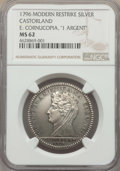 """""""1796"""" Medal Castorland Medal, Silver, Paris Mint Restrike in Silver, MS62 NGC. A modern restrike of the famou..."""