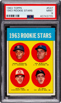 Baseball Cards:Singles (1960-1969), 1963 Topps Pete Rose - 1963 Rookie Stars #537 PSA Mint 9 - Only One Higher....