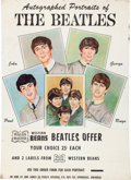 "Music Memorabilia:Posters, Beatles ""Autographed Portraits of The Beatles"" Wagon Master WesternBeans Rare Promotional Poster (US, 1964)...."