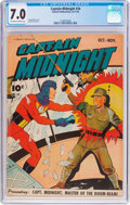 Golden Age (1938-1955):War, Captain Midnight #34 (Fawcett Publications, 1945) CGC FN/VF 7.0Off-white to white pages....