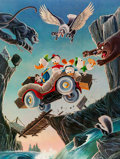 Memorabilia:Disney, Carl Barks Leaving Their Cares Behind Signed Limited Edition Lithograph Print #174/350 (Another Rainbow, 1995)....