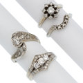 Estate Jewelry:Rings, Diamond, White Gold Rings . ... (Total: 4 Items)