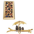 Estate Jewelry:Brooches - Pins, Diamond, Multi-Stone, Gold Brooches . ... (Total: 2 Items)