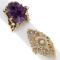 Estate Jewelry:Rings, Diamond, Amethyst, Gold Rings . ... (Total: 2 Items)