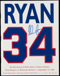 Autographs:Others, 1996 Texas Rangers Nolan Ryan Number Retirement Signed Program.....