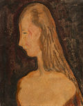 Paintings, Alfred Henry Maurer (American, 1868-1932). Woman in Profile. Oil on board. 12 x 9-1/2 inches (30.5 x 24.1 cm). Signed up...