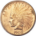 Indian Eagles, 1908-D $10 No Motto MS62 PCGS....