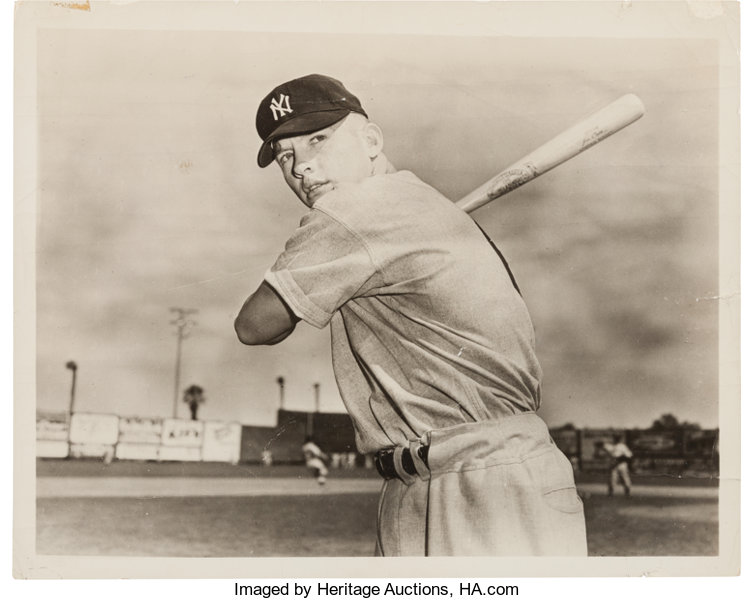 1950s Mickey Mantle Original News Photograph Used For 1951
