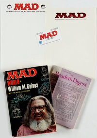 The MAD World of William M. Gaines by Frank Jacobs and MAD-related Ephemera Group of 5 (Lyle Stuart Inc., ... (Total: 5...