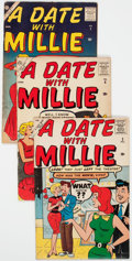 Silver Age (1956-1969):Romance, A Date With Millie Group of 3 (Atlas/Marvel, 1957-59) Condition:Average VG.... (Total: 3 Comic Books)