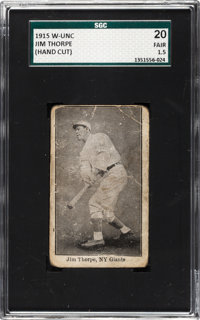 1915 W-Unc Jim Thorpe SGC 20 Fair 1.5 - The Only Example Known!